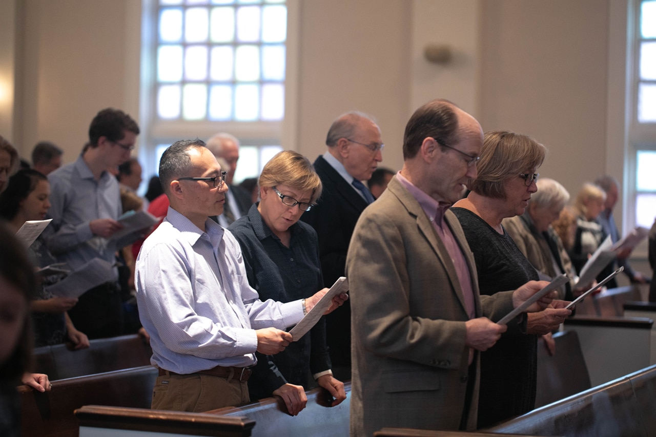 Weekly worship service congregants
